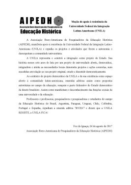 Moção de apoio à resistência da Universidade Federal da Integração Latino